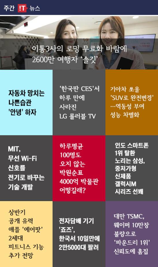 [주간 IT 뉴스] 이통3사의 로밍 무료화 바람에 2600만 여행자 '솔깃'